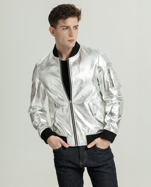 Classic Silver Embroidered Vegetable Tanned Baseball Jacket