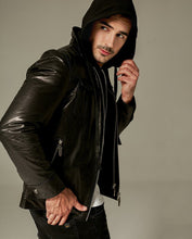 Load image into Gallery viewer, Double Zipped Hooded Vegetable Tanned Goatskin Jacket