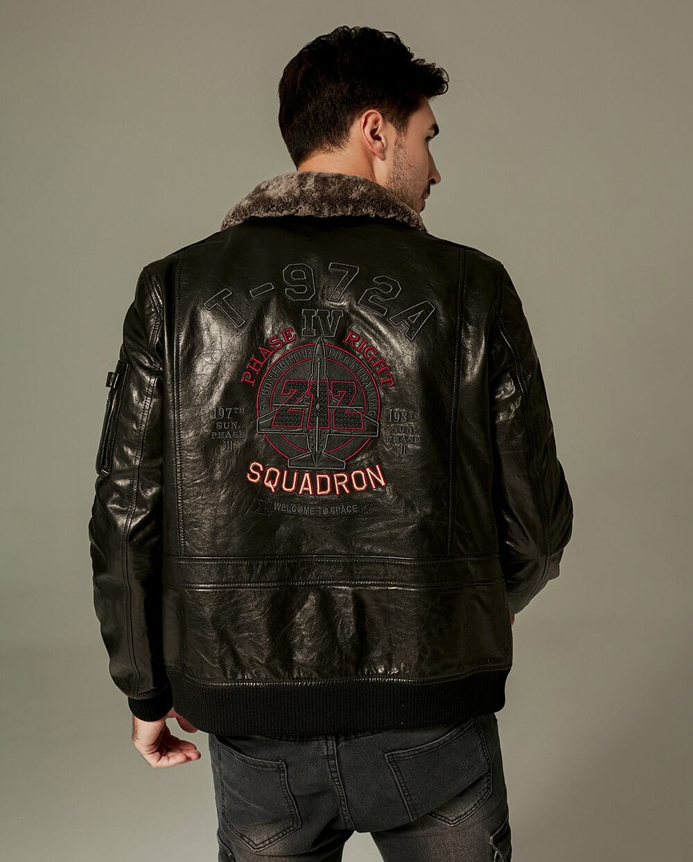 Embroidered Appliqued Goatskin Bomber Moto Jacket
