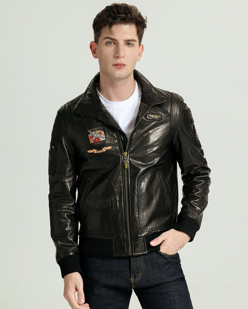 EMBROIDERED STAND COLLAR VEGETABLE TANNED GOATSKIN JACKET