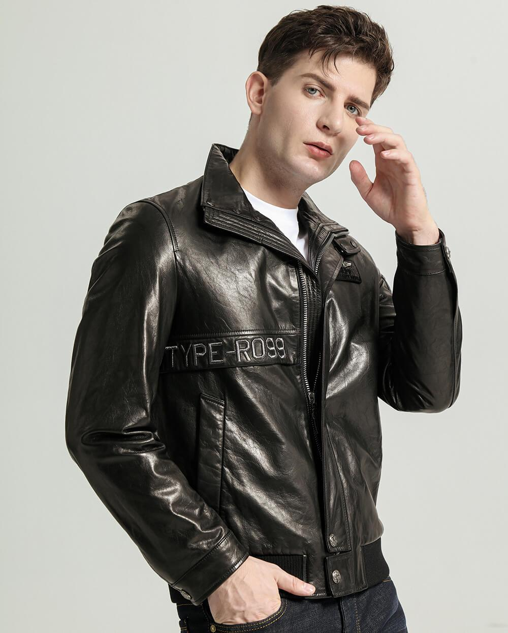 Embroidered Stand-Collar Vegetable Tanned Goatskin Jacket