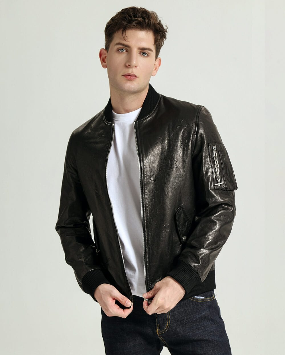 Embroidered Vegetable Tanned Goatskin Baseball Jacket with Sleeve Pocket