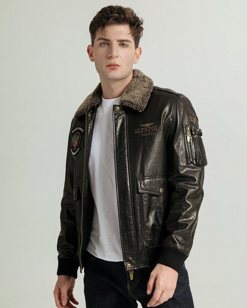 Embroidered Vegetable Tanned Goatskin Baseball Jacket with Knitted Baseball Collar