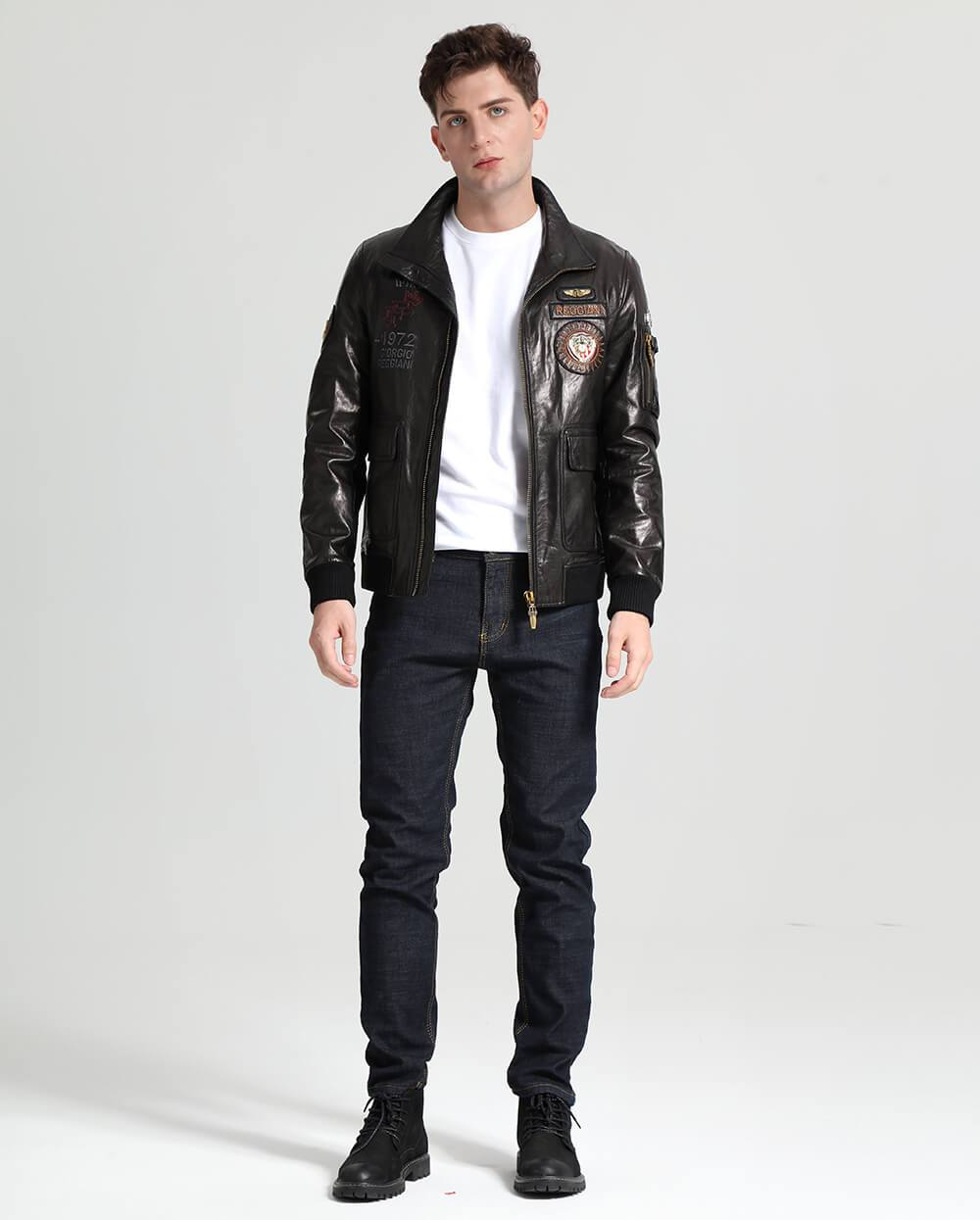 Fashionable Embroidery Goatskin Casual Moto Jacket