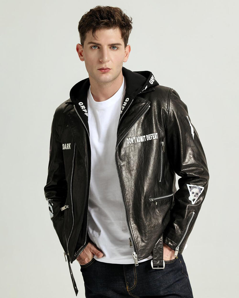 Fashionable Printed Vegetable Tanned Goatskin Moto Jacket with Detectable Hood