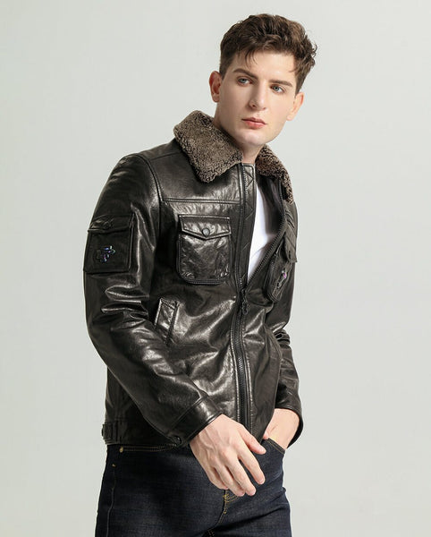 Lamb Fur Collar Vegetable Tanned Goatskin Jacket