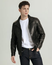 Load image into Gallery viewer, Mandarin Collar Elastic Hem Vegetable Tanned Goatskin Jacket