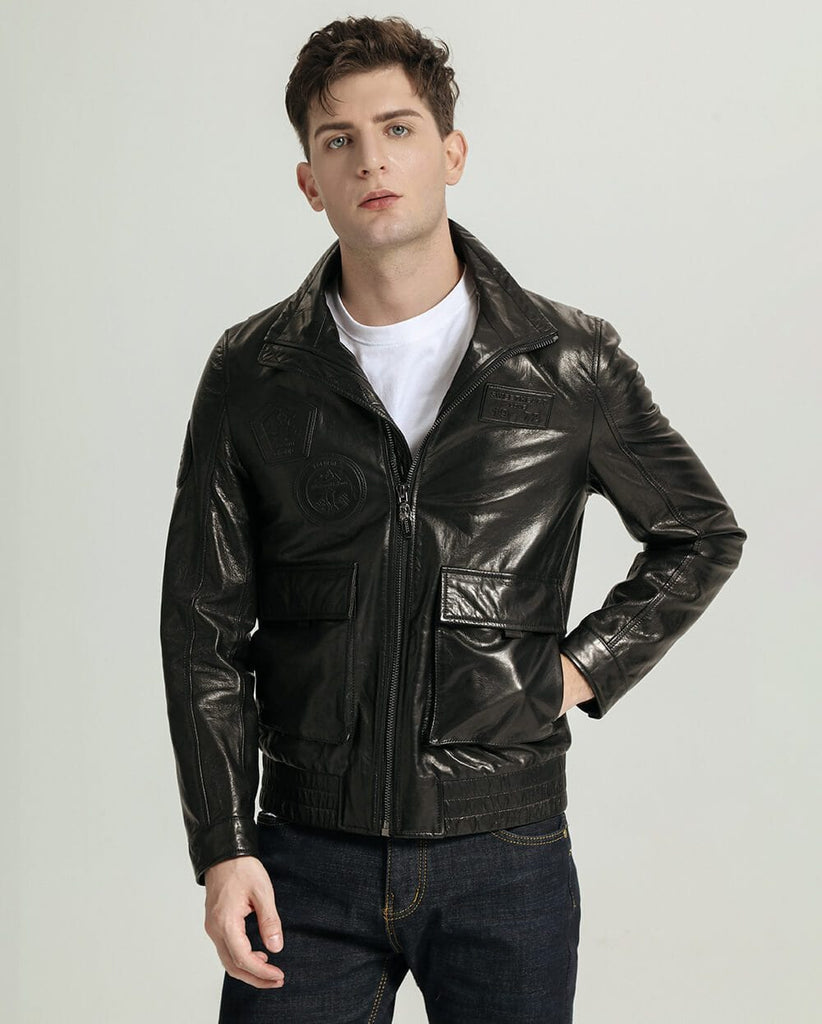 Mandarin Collar Elastic Hem Vegetable Tanned Goatskin Jacket
