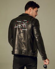 Load image into Gallery viewer, Printed Embroidered Vegetable Tanned Goatskin Moto Jacket