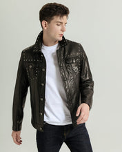 Load image into Gallery viewer, Stylish Embroidery Rivet-decorated Goatskin Leather Denim Jacket