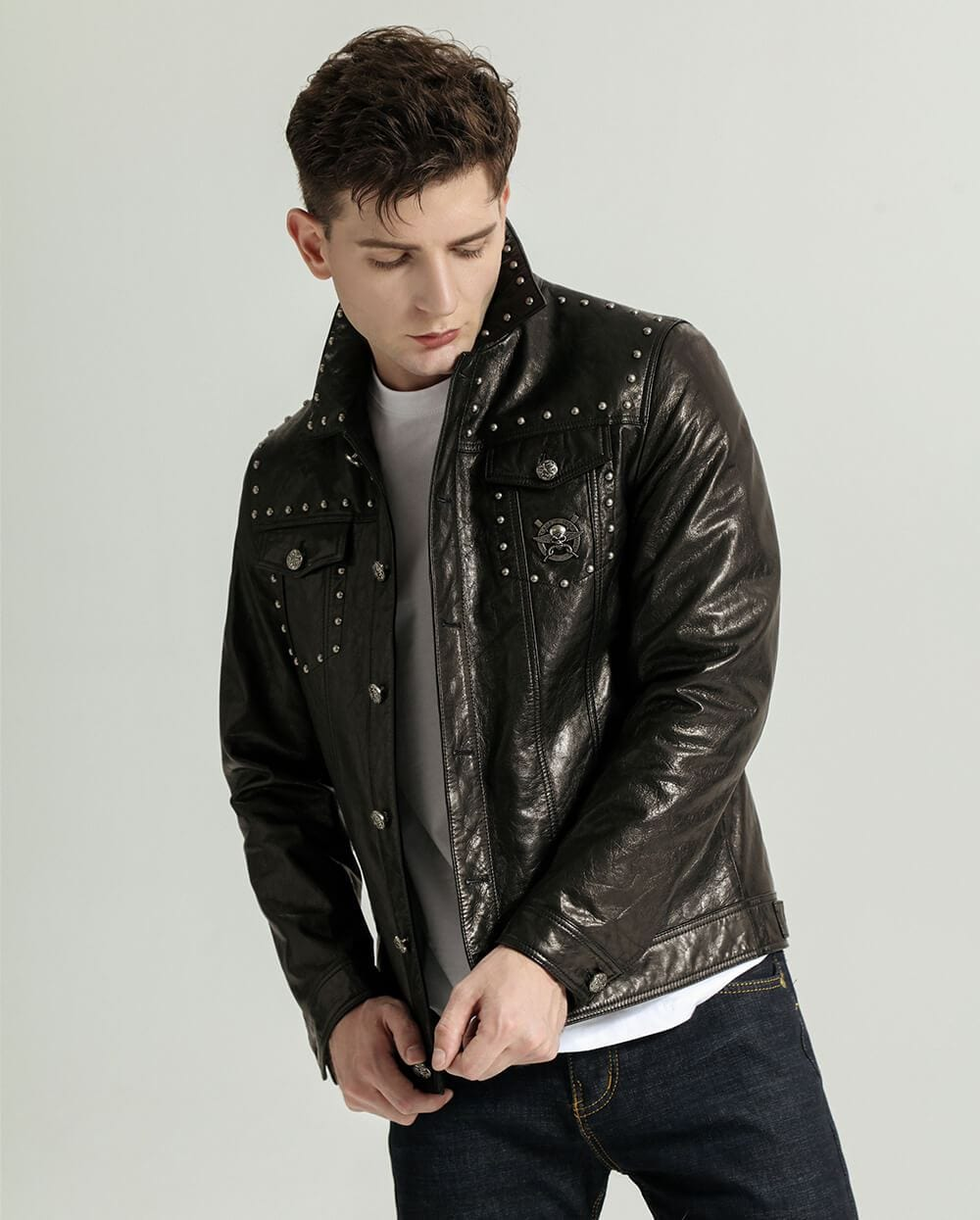 Stylish Embroidery Rivet-decorated Goatskin Leather Denim Jacket