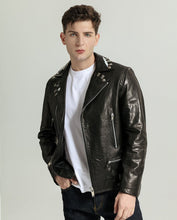 Load image into Gallery viewer, Trendy Vegetable Tanned Goatskin Moto Jacket