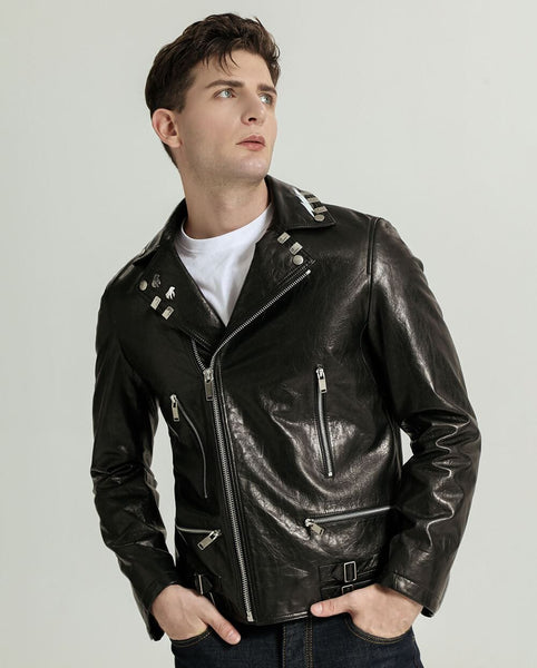 Trendy Vegetable Tanned Goatskin Moto Jacket