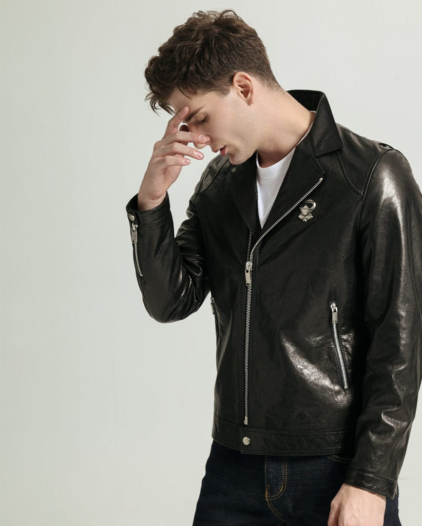 Vegetable Tanned Goatskin Moto Jacket with Adjustable Zippered Cuff