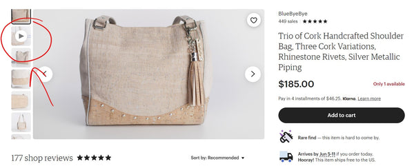 product page of a purse with the product video circled