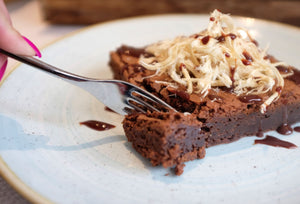 Rich Chocolate brownie with shredded halva