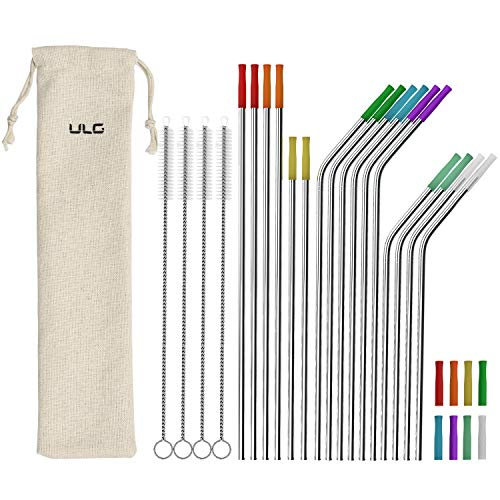 ULG Metal Straws 16-Pack Reusable Stainless Steel Straws with Case 10.5""