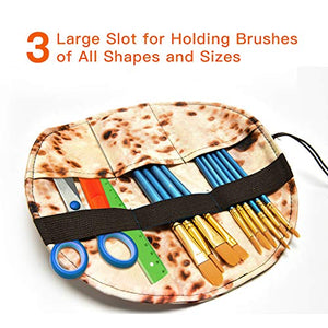 Paint Brush Holder Pouch Bag with 10 Pcs Paint Brushes
