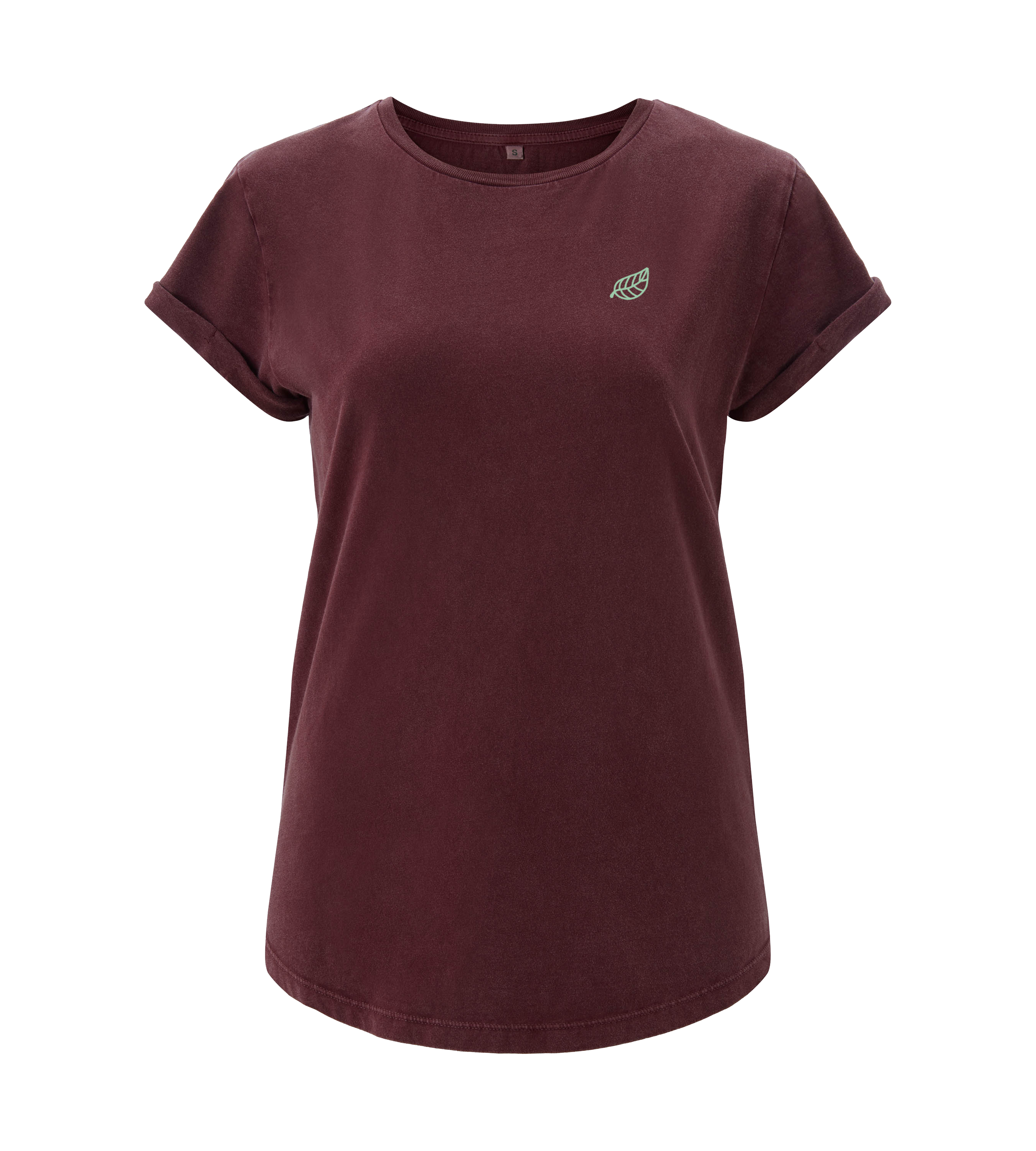 Rolled Up Sleeve - Stone Wash Burgundy - Frauen
