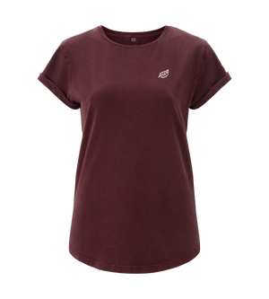 Bild in Slideshow öffnen, Rolled Up Sleeve - Stone Wash Burgundy - Frauen