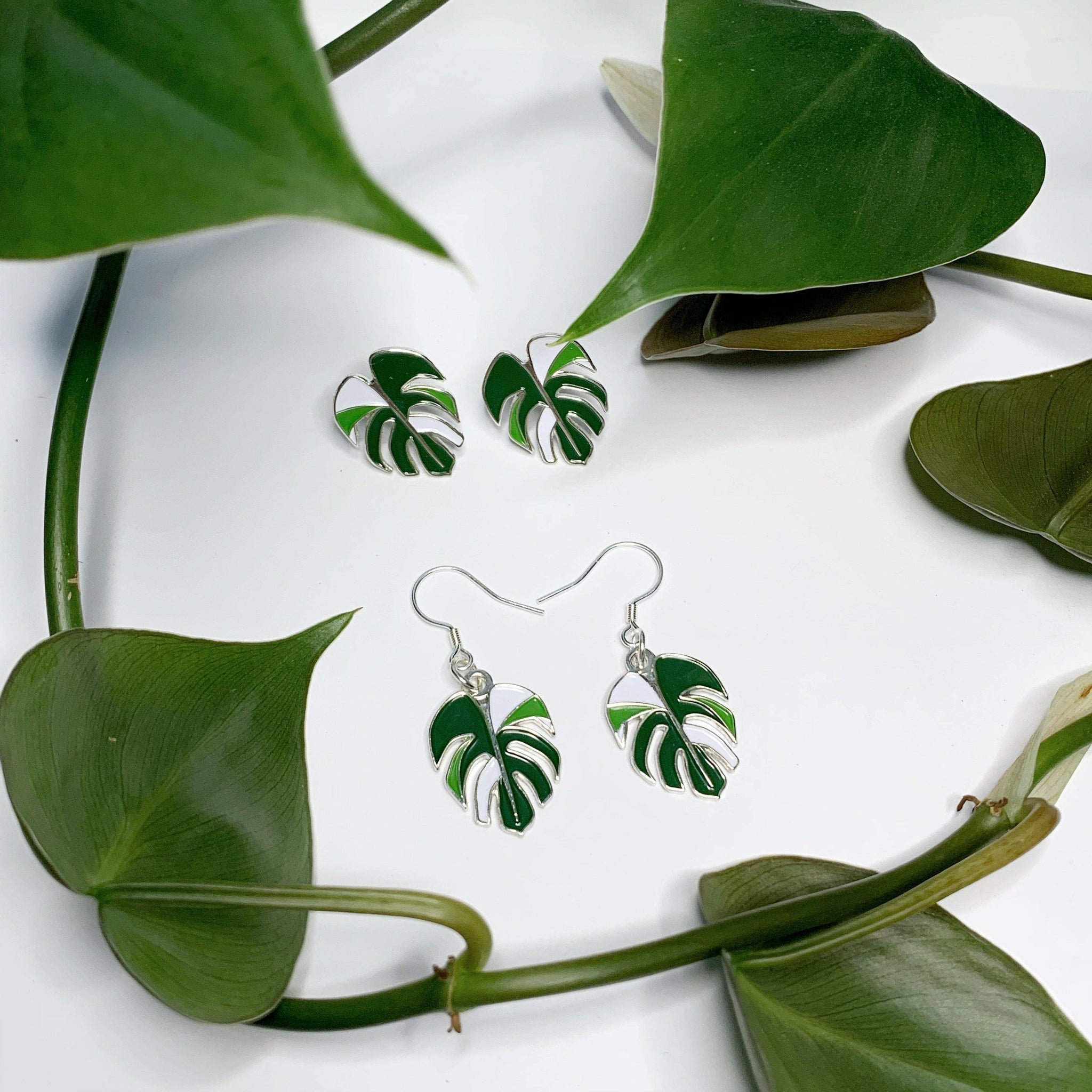 Variegated Monstera Earrings - Luxe Foliage