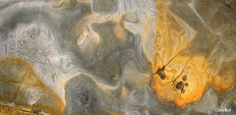 Golden Swirls, Rock Detail by Chris Bell