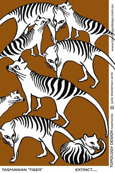 Endangered Species Tea-Towel Tasmanian Tiger