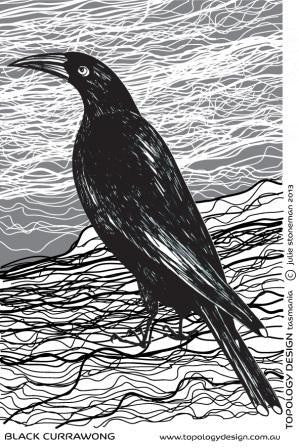 Endangered Species Tea-Towel Black Currawong