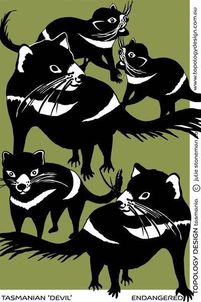 Endangered Species Tea-Towel Tasmanian Devil