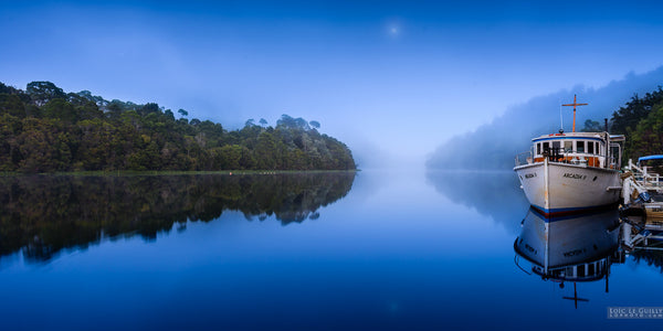 Fog and moon over the Pieman River, Tarkine by Loic Le Guilly