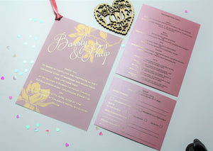 Foiled patterned vellum wedding invitation