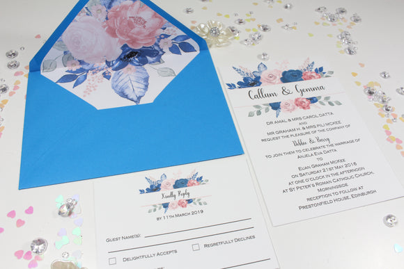 A6 Floral Printed wedding invitation