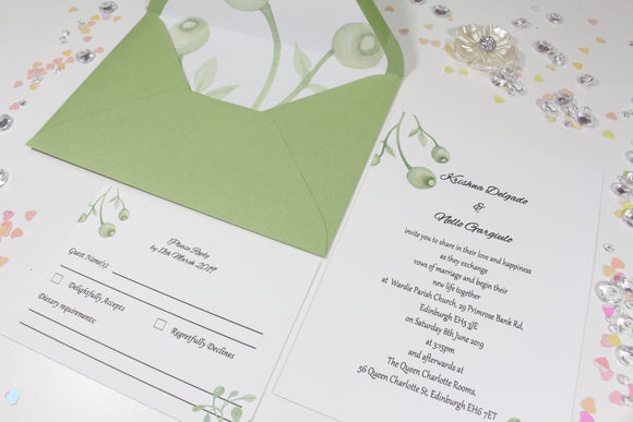 A6 Printed wedding invitation