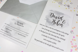 A6 Water colour printed wedding invitation