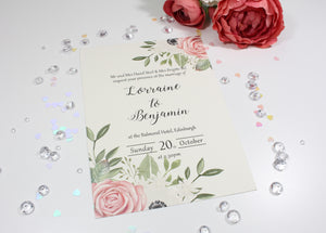Blush Pink Floral Printed wedding invitation - Edinburgh Wedding Stationery