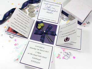 Thistle Scottish Exploding Box Wedding Invitation