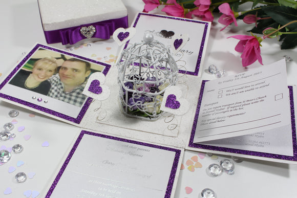 Birdcage Exploding Box Wedding Invitation