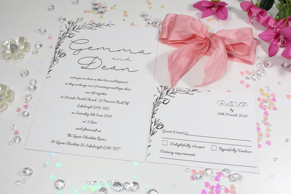 Silk Ribbon Floral Line Art Wedding Invitation