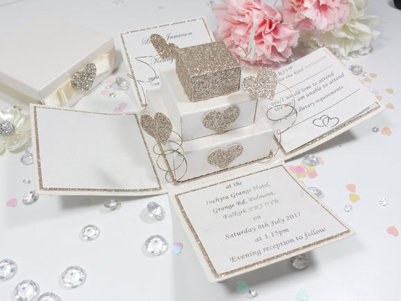 Luxury Glitter Square Cake Exploding Box Invitation