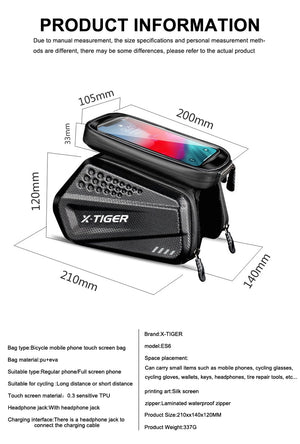 Bicycle Bag Handlebar Touchscreen Phone Case Cycling Bag - Rainproof - Single Athletics