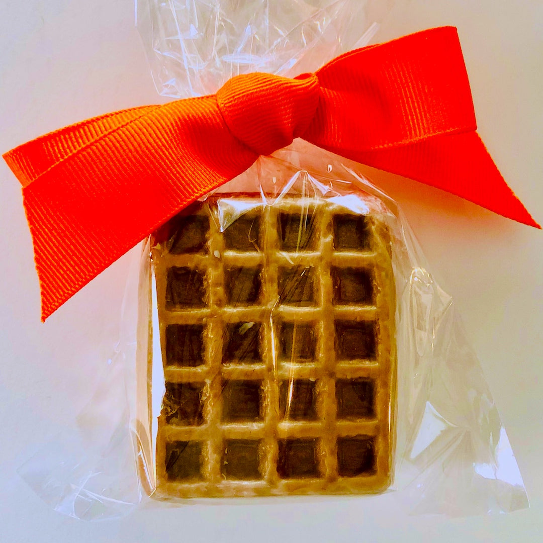 Waffle and ice cream soap with a surprise inside comes ready to gift in cellophane bag with ribbon.