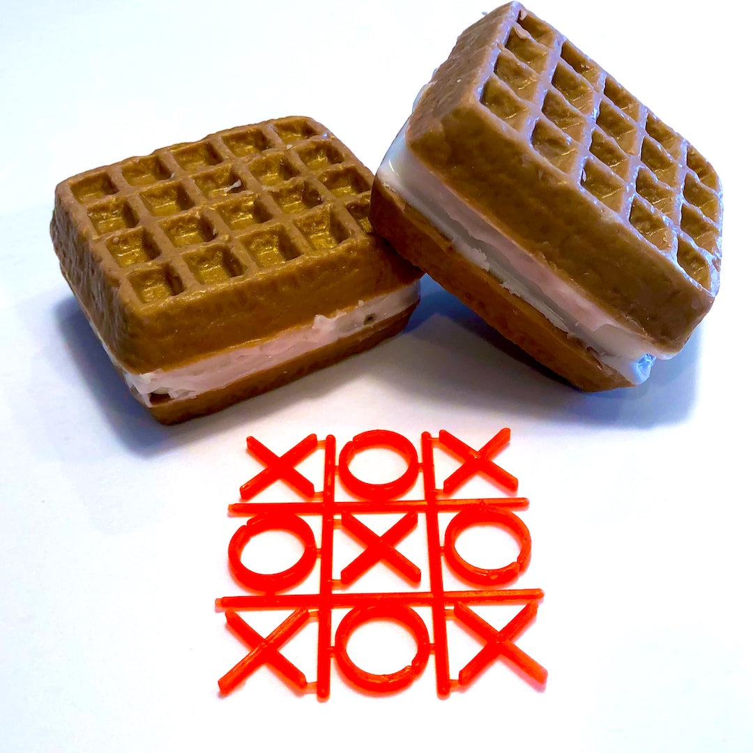 Our waffles and ice cream soaps have a surprise inside a tic tac toe game. Keep washing your hands to get to your treat.