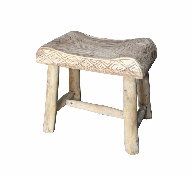 Carved Teak Stool
