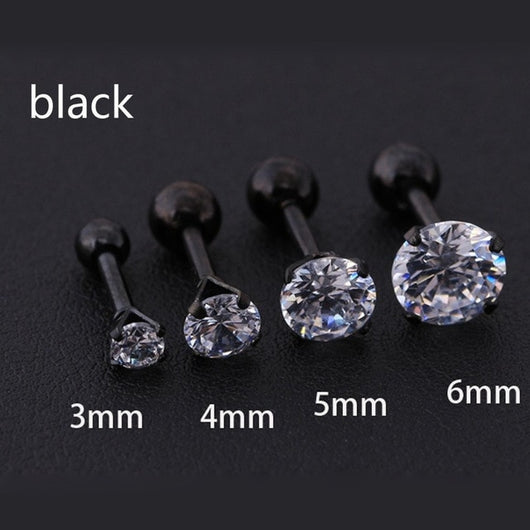 1 pcs/bag Size 3/4/5/6mm 4 Colors Medical titanium needle True zircon Ear Studs Boys and girls Earrings For DIY Party Earrings