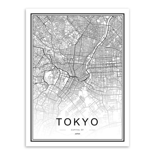 Black White Custom World City Map Paris London New York