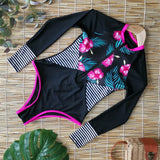 Long Sleeve Bikini Floral Printed One Piece Swimsuit