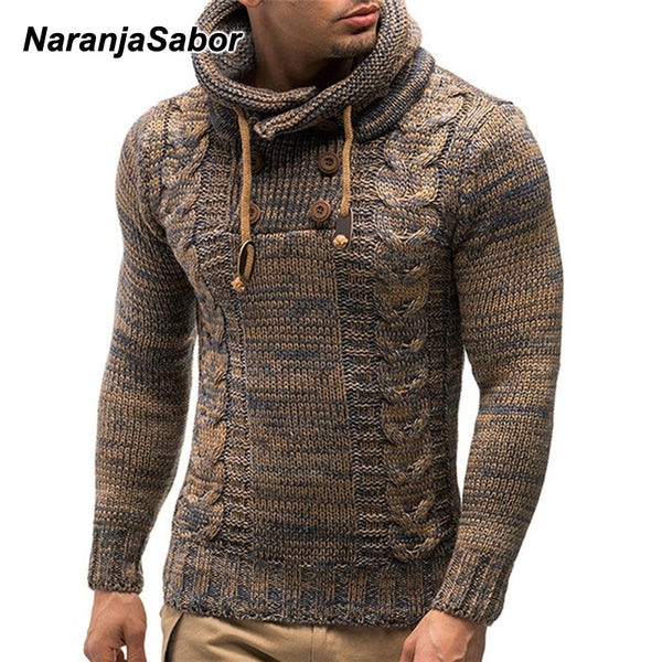 NaranjaSabor Men's Warm Hooded Knitted Pullover