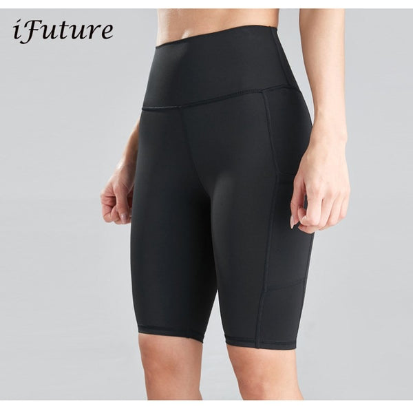 Sports Shorts For Women 2020 New Cycling Running Fitness  High Waist  Push Up Hip Side Pocket Gym shorts Leggings