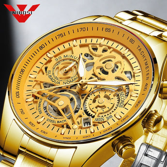 NIBOSI Gold Skeleton Quartz Watch