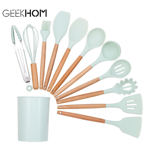 kitchen Silicone Cooking Utensil Set Non-stick Spatula Wooden Handle Heat Resistant Cooking Accessories Kitchen Tools